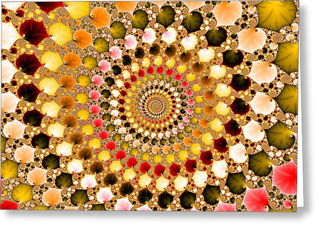 Green And Yellow Abstract Greeting Cards - Floral fractal spiral warm colors  Greeting Card by Matthias Hauser