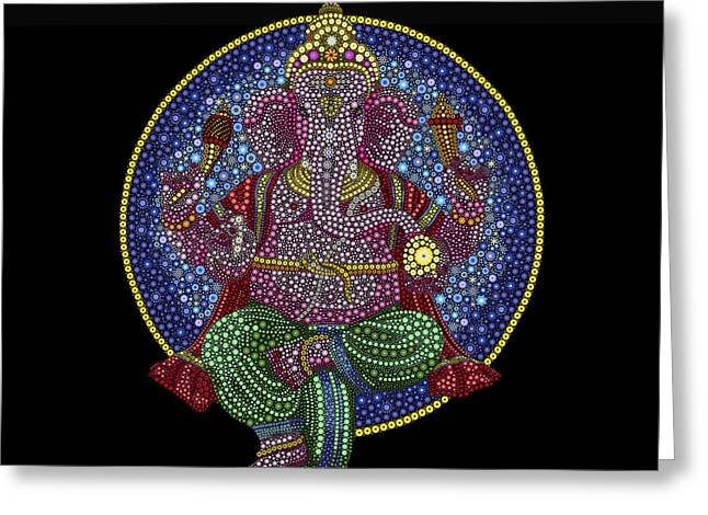 Digital Flower Greeting Cards - Floral Ganesha Greeting Card by Tim Gainey