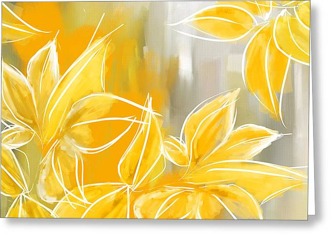 Yellow And Gray Abstract Greeting Cards - Floral Glow Greeting Card by Lourry Legarde