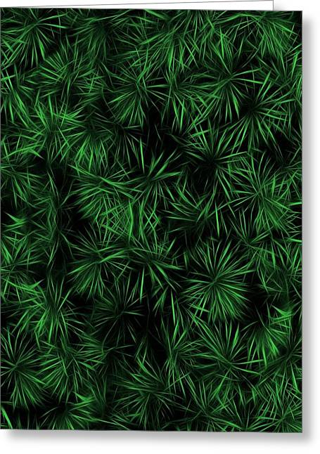 Cabin Wall Greeting Cards - Floral Green Abstract Greeting Card by David Dehner