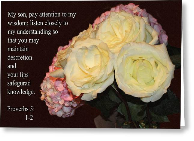 Green Burgandy Greeting Cards - Floral Group Proverbs 5v1-2 Greeting Card by Linda Phelps