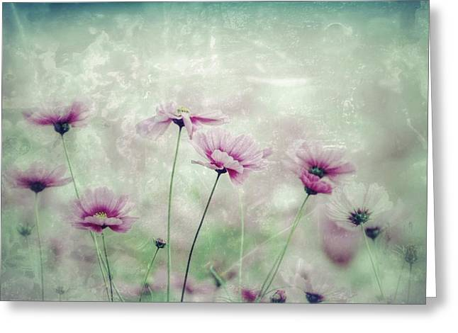 ography Paintings Greeting Cards - Floral Grunge Greeting Card by Amanda  Lakey