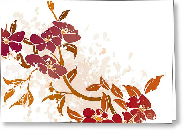 Beauty In Nature Mixed Media Greeting Cards - Floral Grunge Background Vector Greeting Card by Christos Georghiou