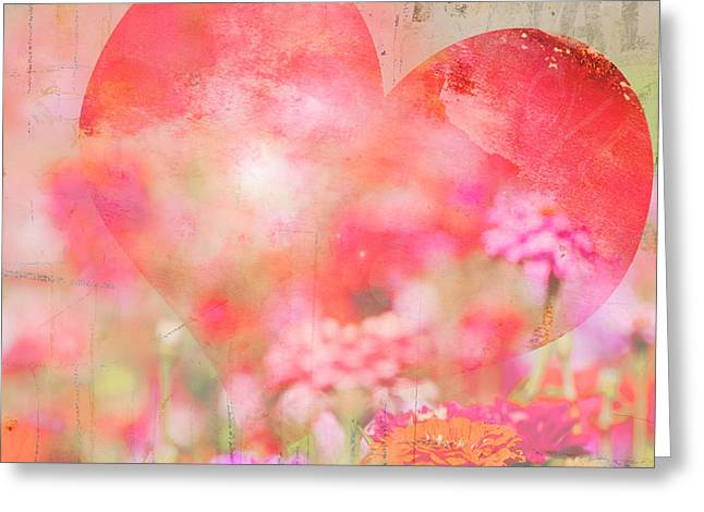 Couer Greeting Cards - Floral Heart Greeting Card by ArtyZen Studios