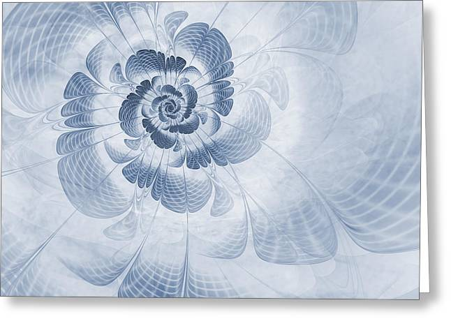Fractal Flower Greeting Cards - Floral Impression Cyanotype Greeting Card by John Edwards