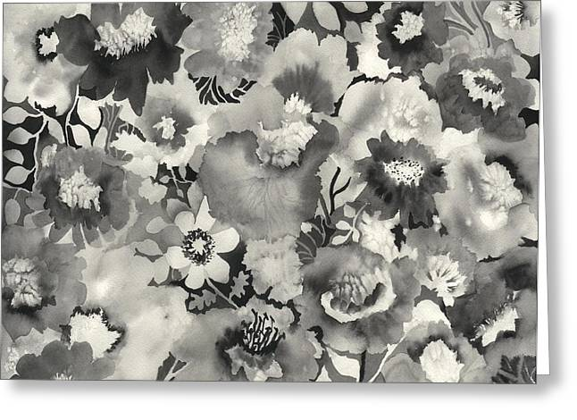 Patterns Paintings Greeting Cards - Floral in Black and White Greeting Card by Neela Pushparaj