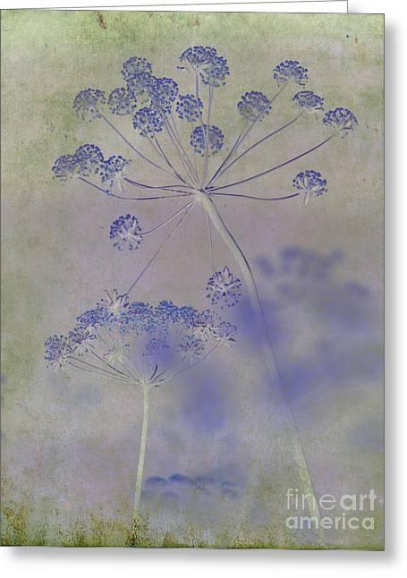 Floral Digital Art Greeting Cards - Floral in Blue Greeting Card by Sharon Elliott