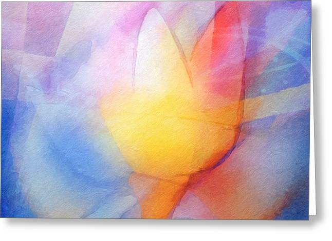Abstract Digital Mixed Media Greeting Cards - Floral Light Greeting Card by Lutz Baar