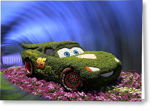 Photography Lightning Digital Greeting Cards - Floral Lightning McQueen Greeting Card by Thomas Woolworth