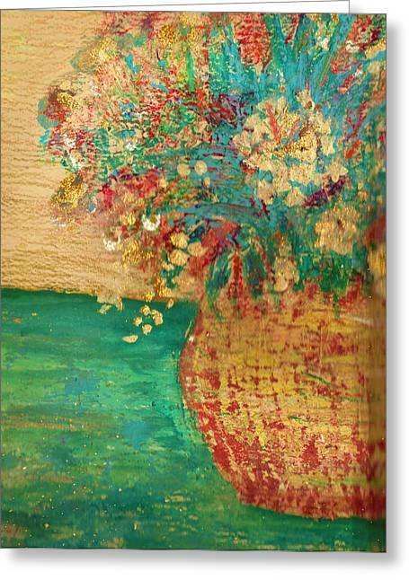 Floral On Crooked Table Greeting Card by Anne-Elizabeth Whiteway
