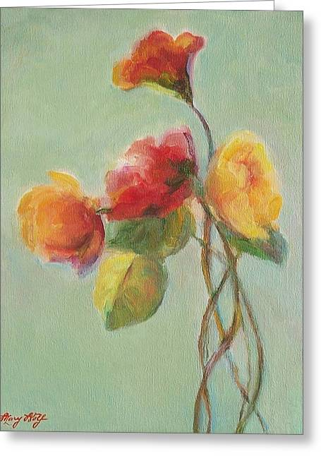 Floral Painting Greeting Card by Mary Wolf