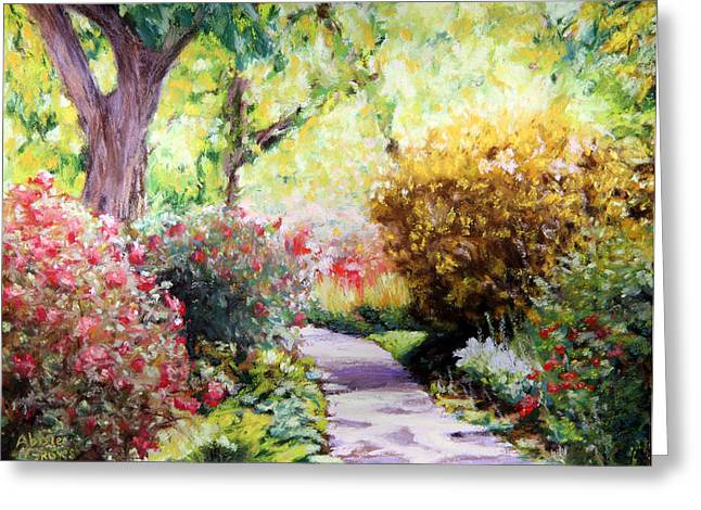 Acrylic Print Greeting Cards - Floral Path Greeting Card by Abbie Groves