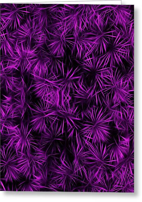 Cabin Wall Greeting Cards - Floral Purple Abstract Greeting Card by David Dehner