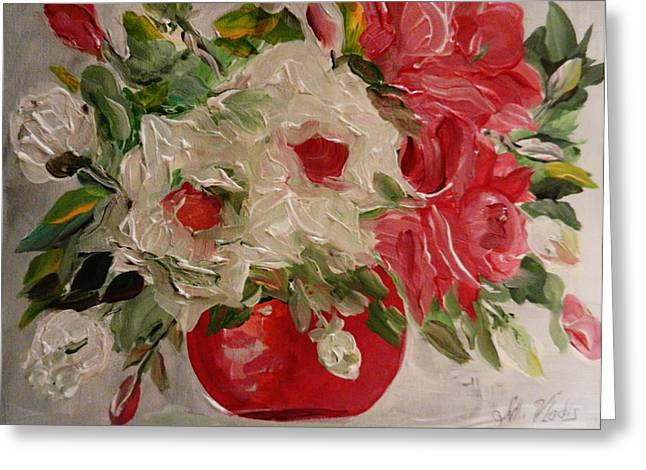 Steal Prints Greeting Cards - Floral Reds Greeting Card by Marina R Vladis