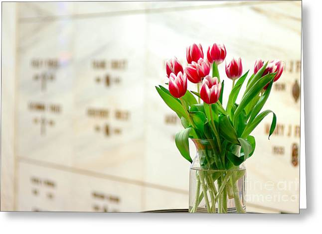 Funeral Greeting Cards - Floral Rememberance at Mausoleum Greeting Card by Amy Cicconi