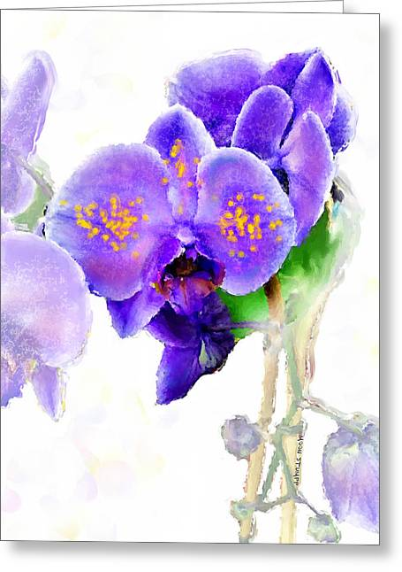 Landscape Posters Mixed Media Greeting Cards - Floral series - Orchid Greeting Card by Moon Stumpp