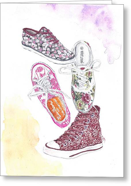 Keds Greeting Cards - Floral Sneakers Greeting Card by Sabina Mollot