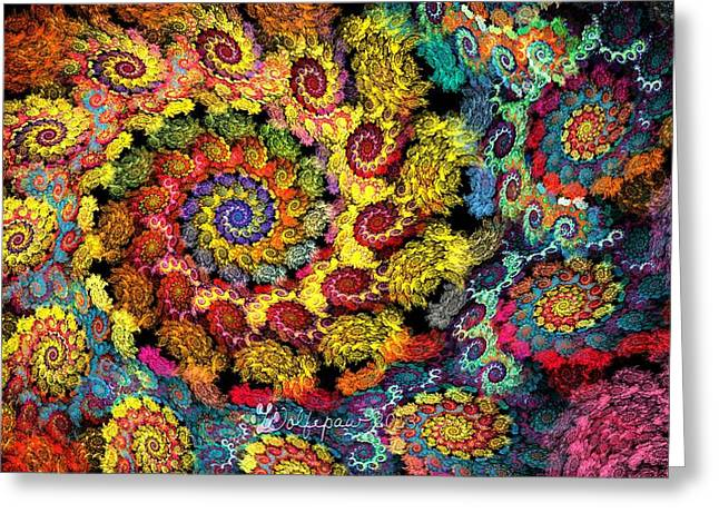 Abstract Digital Digital Greeting Cards - Floral Spiral Greeting Card by Peggi Wolfe