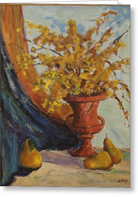 Avis Greeting Cards - Floral Still Life Greeting Card by Avis Fox