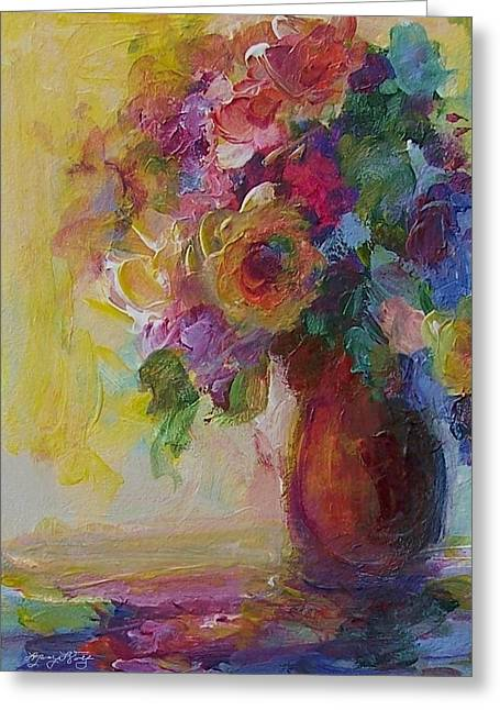 Sienna Greeting Cards - Floral Still Life Greeting Card by Mary Wolf