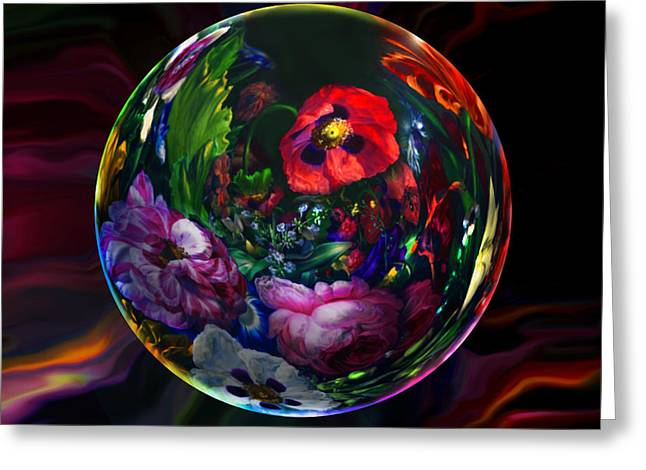 Spheres Greeting Cards - Floral Still Life Orb Greeting Card by Robin Moline