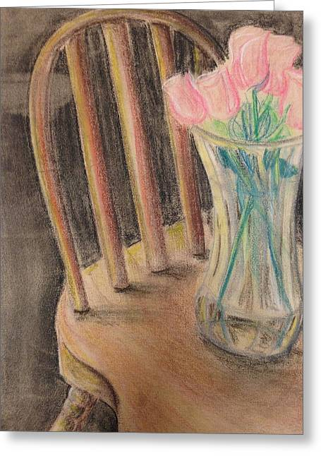 Interior Still Life Drawings Greeting Cards - Floral Still Life Greeting Card by SL Sistrunk