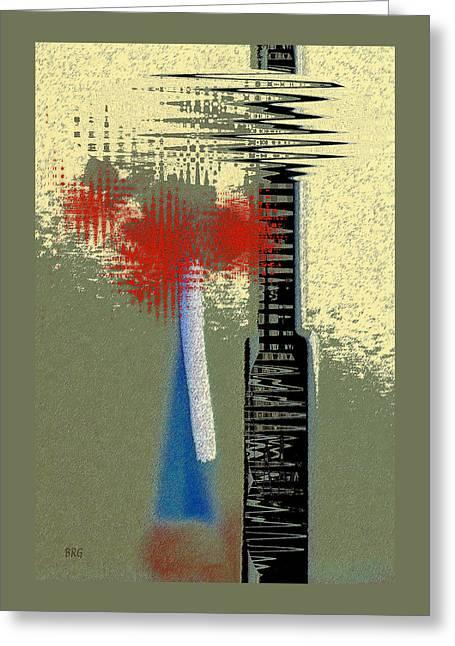 Raisa Gertsberg Digital Greeting Cards - Floral Still Life With Blue Bottle Greeting Card by Ben and Raisa Gertsberg