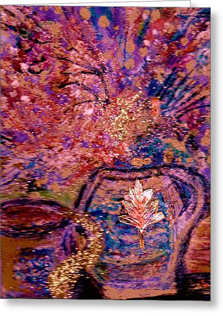 Floral With Gold Leaf On Vase Greeting Card by Anne-Elizabeth Whiteway