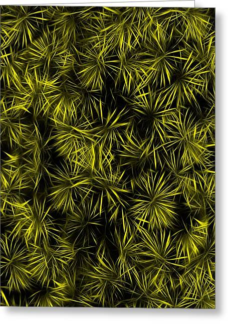 Cabin Wall Greeting Cards - Floral Yellow Abstract Greeting Card by David Dehner
