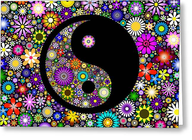 Best Sellers -  - Ying Greeting Cards - Floral Yin Yang Greeting Card by Tim Gainey