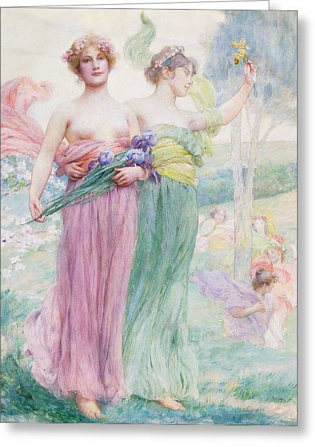 Feminine Art Greeting Cards - Floreal Greeting Card by Henry Siddons Mowbray
