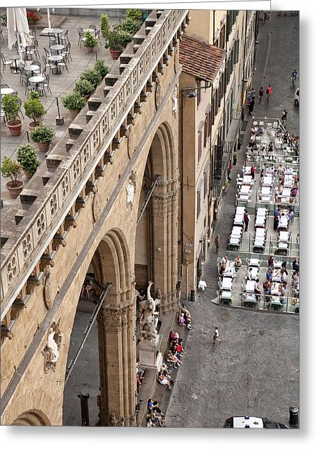 Old And New Architecture Greeting Cards - Florence and Piazza della Signoria Greeting Card by Melany Sarafis