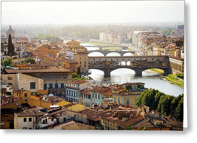 Michelangelo Greeting Cards - Florence and Ponte Vecchio panoramic view Greeting Card by Tania Lerro