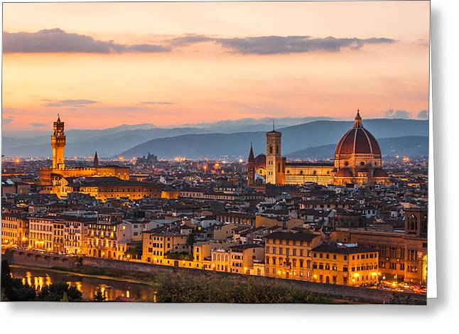 Recently Sold -  - Italian Sunset Greeting Cards - Florence at dusk Greeting Card by Gurgen Bakhshetsyan