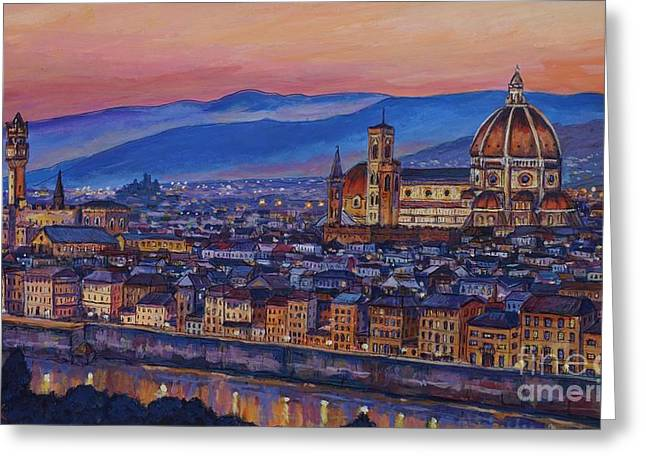Arno Greeting Cards - Florence at Night Greeting Card by John Clark