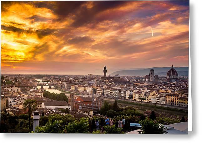 San Rafael Church Greeting Cards - Florence at Sunset 2 Greeting Card by Arnaldo Torres