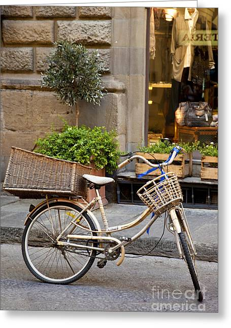 Bicycling Tuscany Greeting Cards - Florence Bicycle  Greeting Card by Brian Jannsen