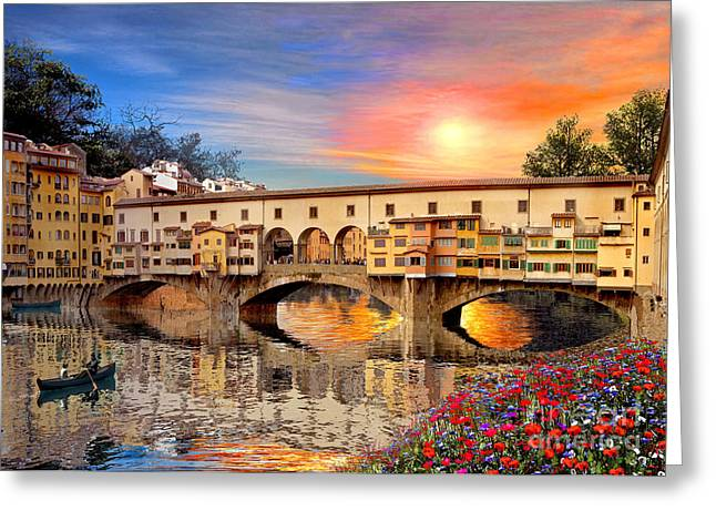 Recently Sold -  - Italian Sunset Greeting Cards - Florence Bridge Greeting Card by Dominic Davison