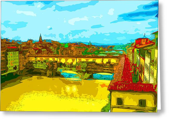 Fierenze Greeting Cards - Florence Bridges 3 Greeting Card by C H Apperson