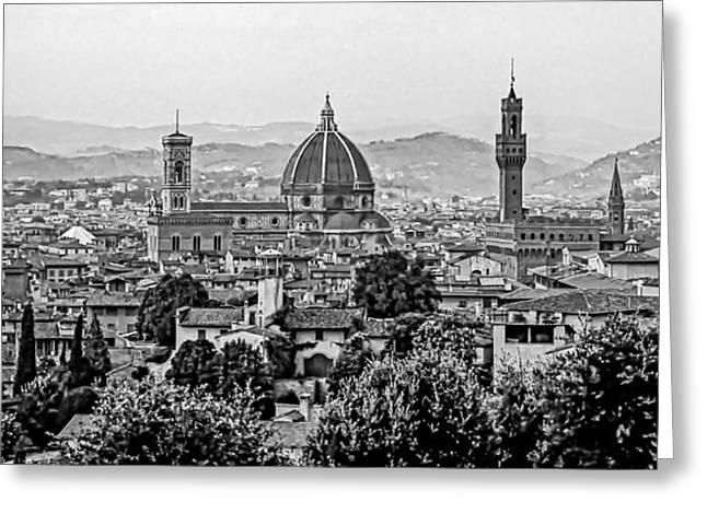 Florence Greeting Cards - Florence bw Greeting Card by Steve Harrington