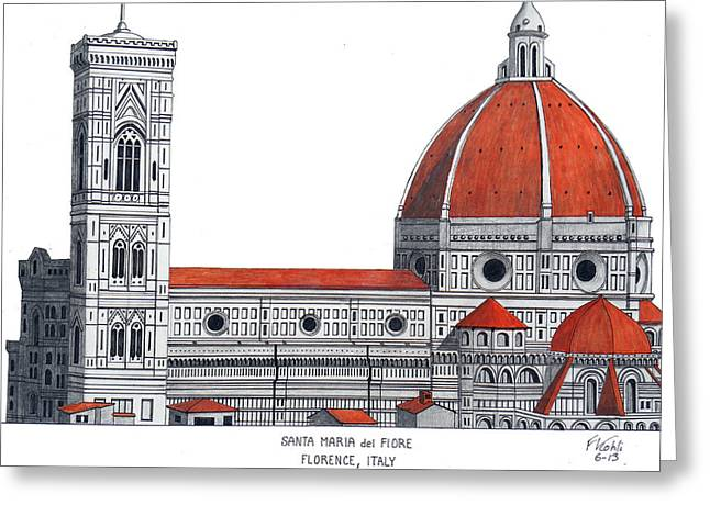 Florence Mixed Media Greeting Cards - Florence Cathedral Greeting Card by Frederic Kohli