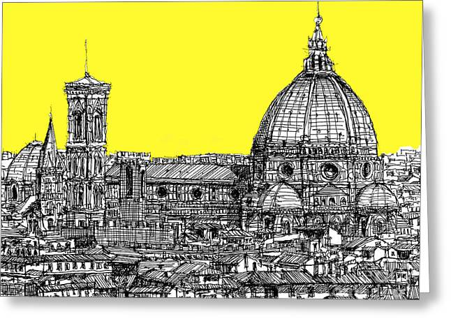 Pen And Ink Framed Prints Greeting Cards - Florence Duomo in acid yellow Greeting Card by Lee-Ann Adendorff