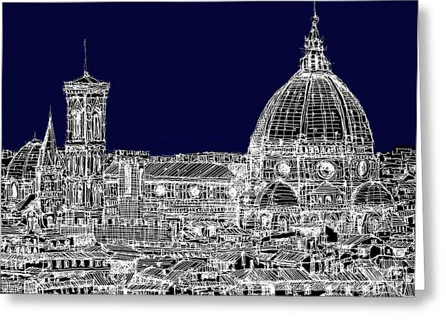 Pen And Ink Framed Prints Greeting Cards - Florence Duomo in dark navy Greeting Card by Lee-Ann Adendorff
