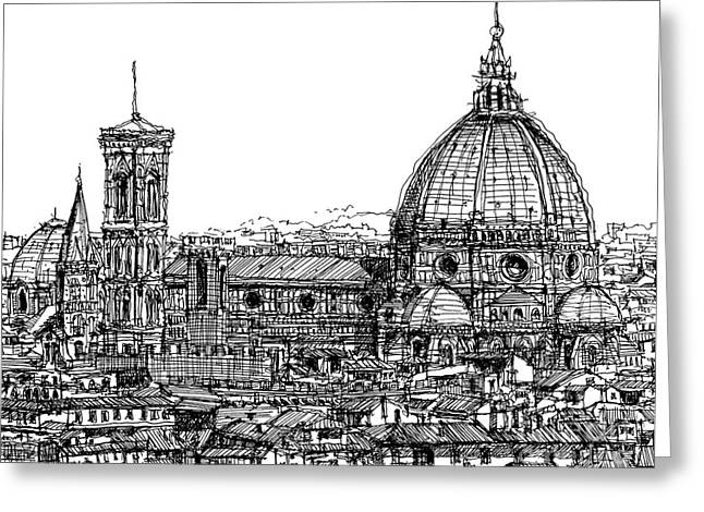 Pen And Ink Framed Prints Greeting Cards - Florence Duomo in ink  Greeting Card by Lee-Ann Adendorff