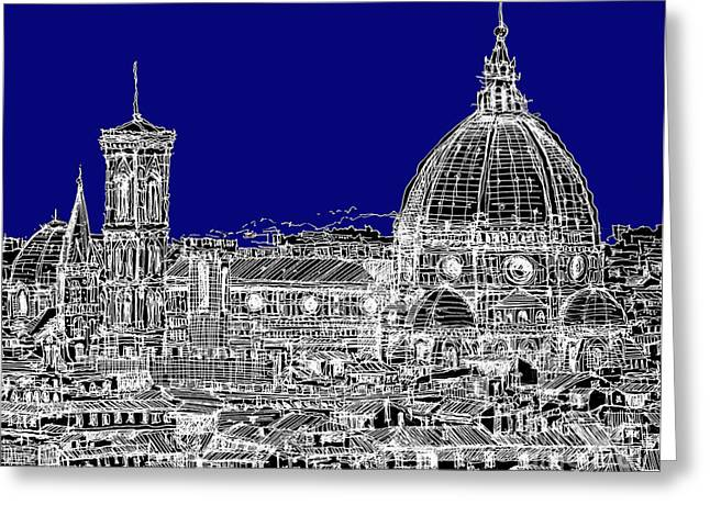 Pen And Ink Framed Prints Greeting Cards - Florence Duomo in royal blue Greeting Card by Lee-Ann Adendorff