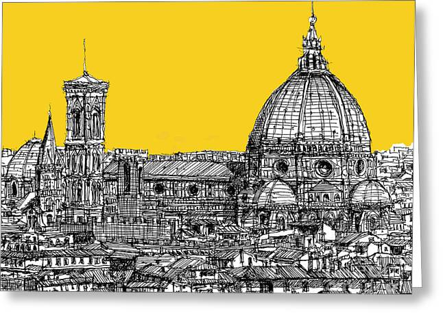 Pen And Ink Framed Prints Greeting Cards - Florence Duomo  Greeting Card by Lee-Ann Adendorff