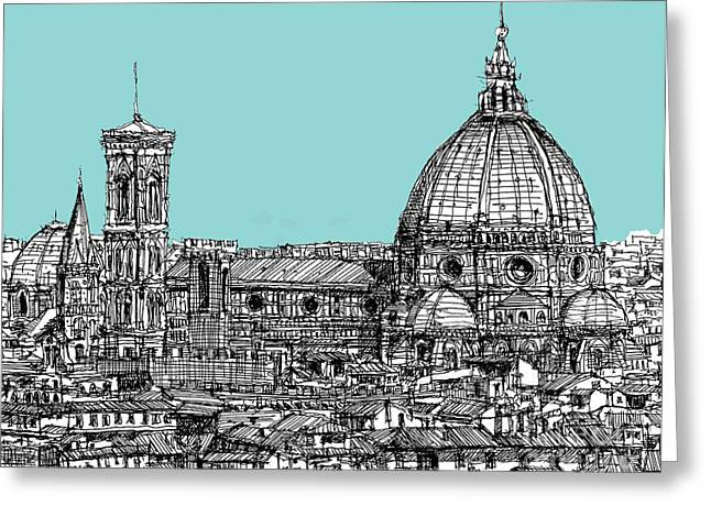 Pen And Ink Framed Prints Greeting Cards - Florence Duomo on light blue Greeting Card by Lee-Ann Adendorff
