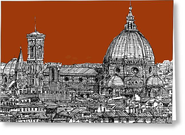 Pen And Ink Framed Prints Greeting Cards - Florence Duomo on sepia  Greeting Card by Lee-Ann Adendorff