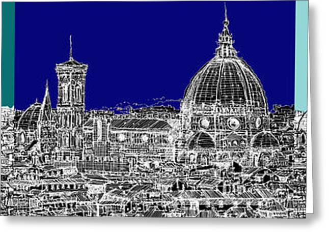 Pen And Ink Framed Prints Greeting Cards - Florence Duomo Triptych blues Greeting Card by Lee-Ann Adendorff