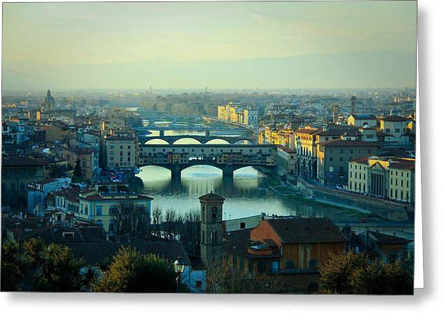 Italy Pyrography Greeting Cards - Florence Greeting Card by Evgenia Zarubin